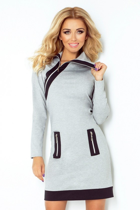 Dámske šaty na zips s rukávom 2667
