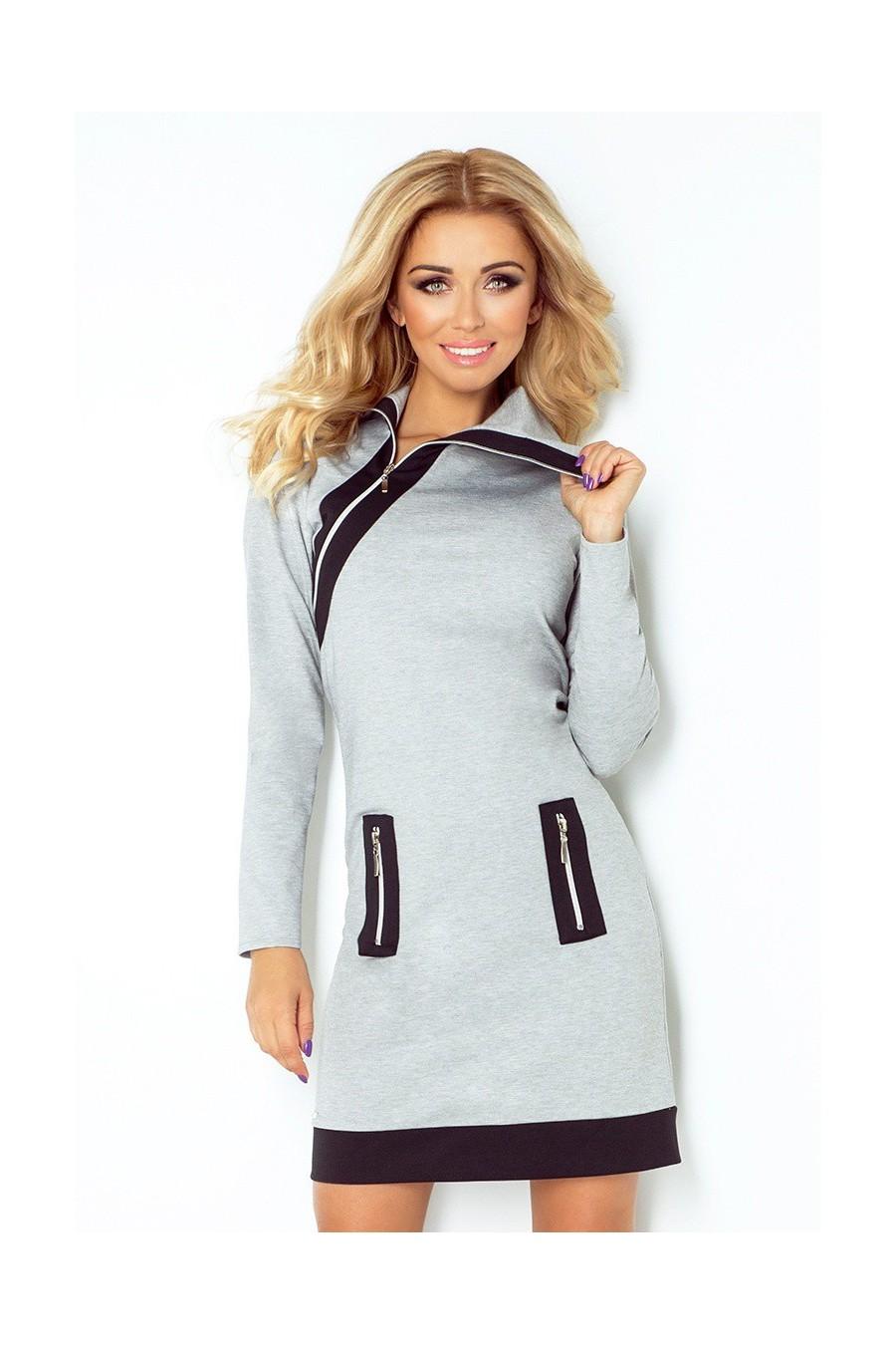 bc64c4b693a3 Dámske šaty na zips s rukávom 2667 - Spoločenské šaty Online