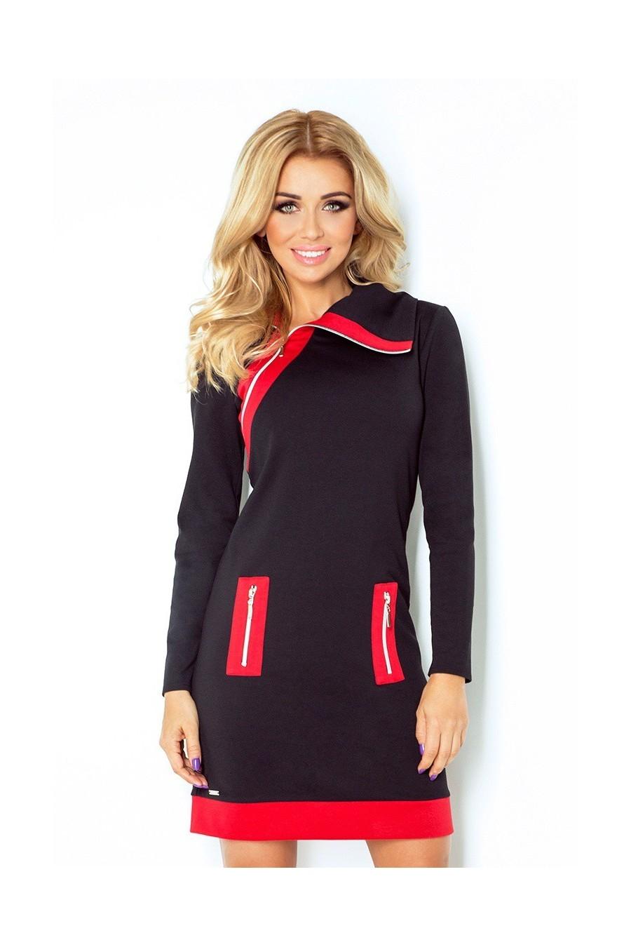 385ac1addb6a Dámske šaty na zips s rukávom 2670 - Spoločenské šaty Online