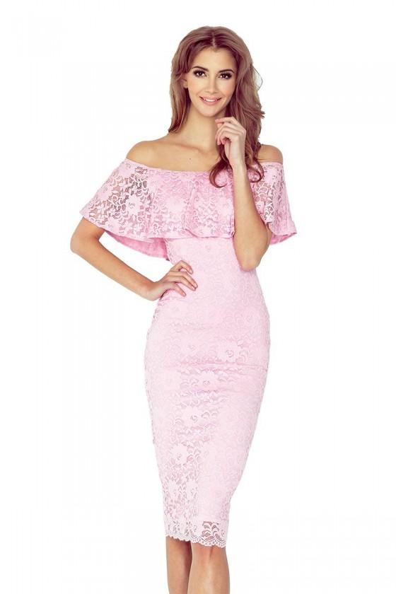 Čipkované šaty s volánom 3064