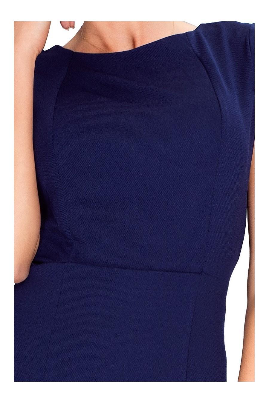37-2 Elegantní šaty s krátkými rukávy - Tmava Modra