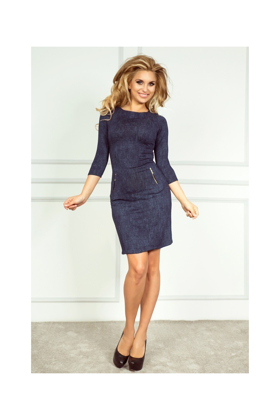 Šaty se zipy - Jeans tmave modre 38-5