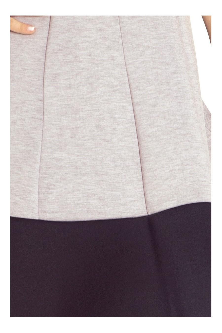 Šaty s černým pruhem na dně - pěna - světle šedý melír + černá 85-2