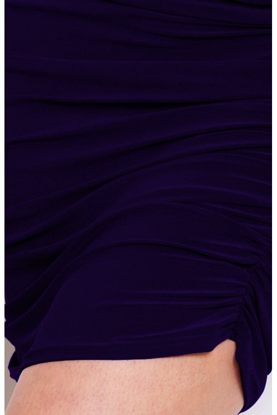 16-4 Plisované šaty s výřezem kimono - tmave modre