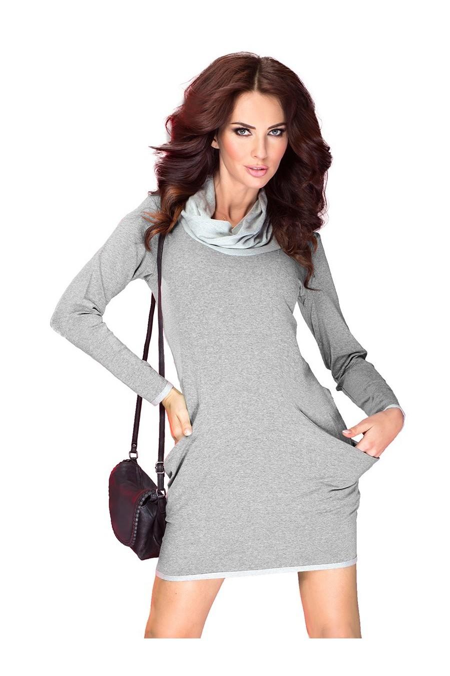 Golf - šaty s velkými kapsami - světle šedá 43-2