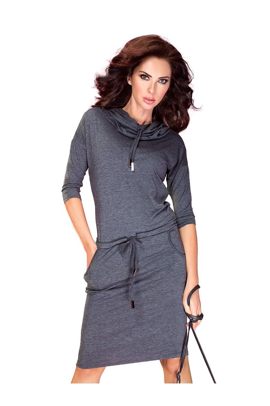 Sportovní šaty se závaznými - šedé 44-1