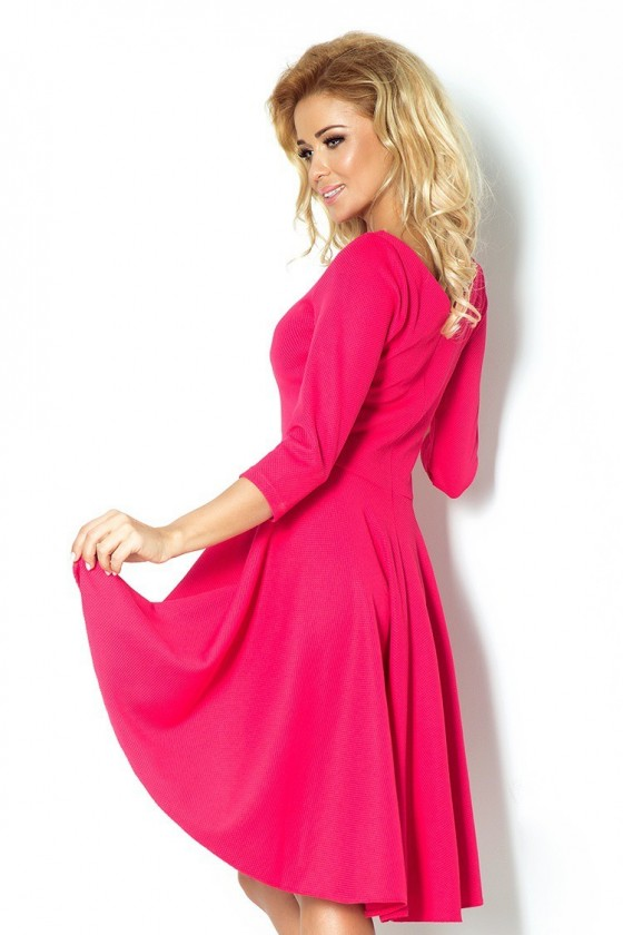 Šaty s 3/4 rukávy a delší zadní - růžová 90-2