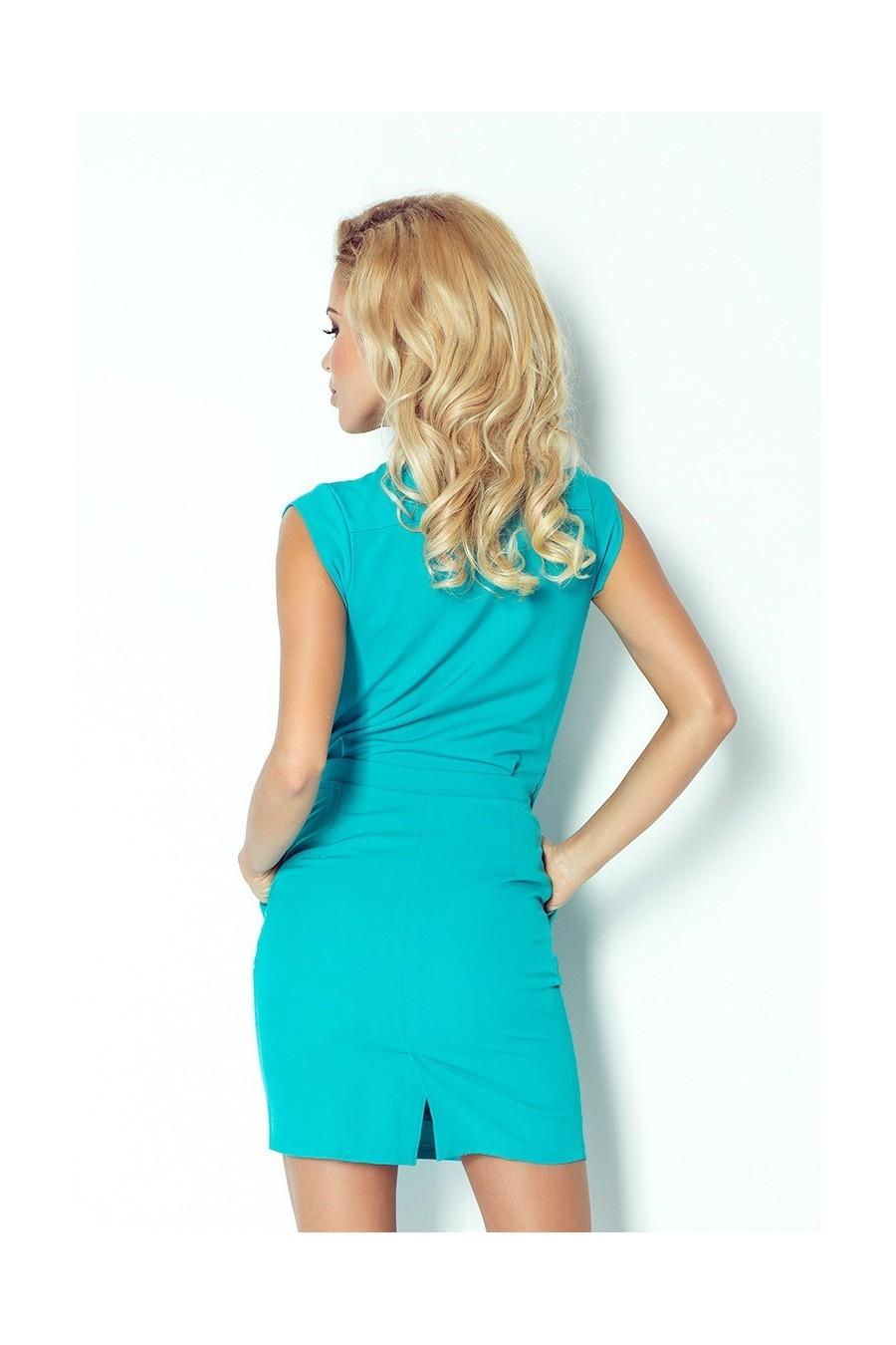 Šaty předpokládat, výstřih - tyrkysová 94-5