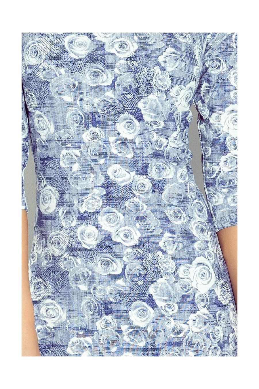 Šaty s rukávy 3/4 - modré růže 88-7