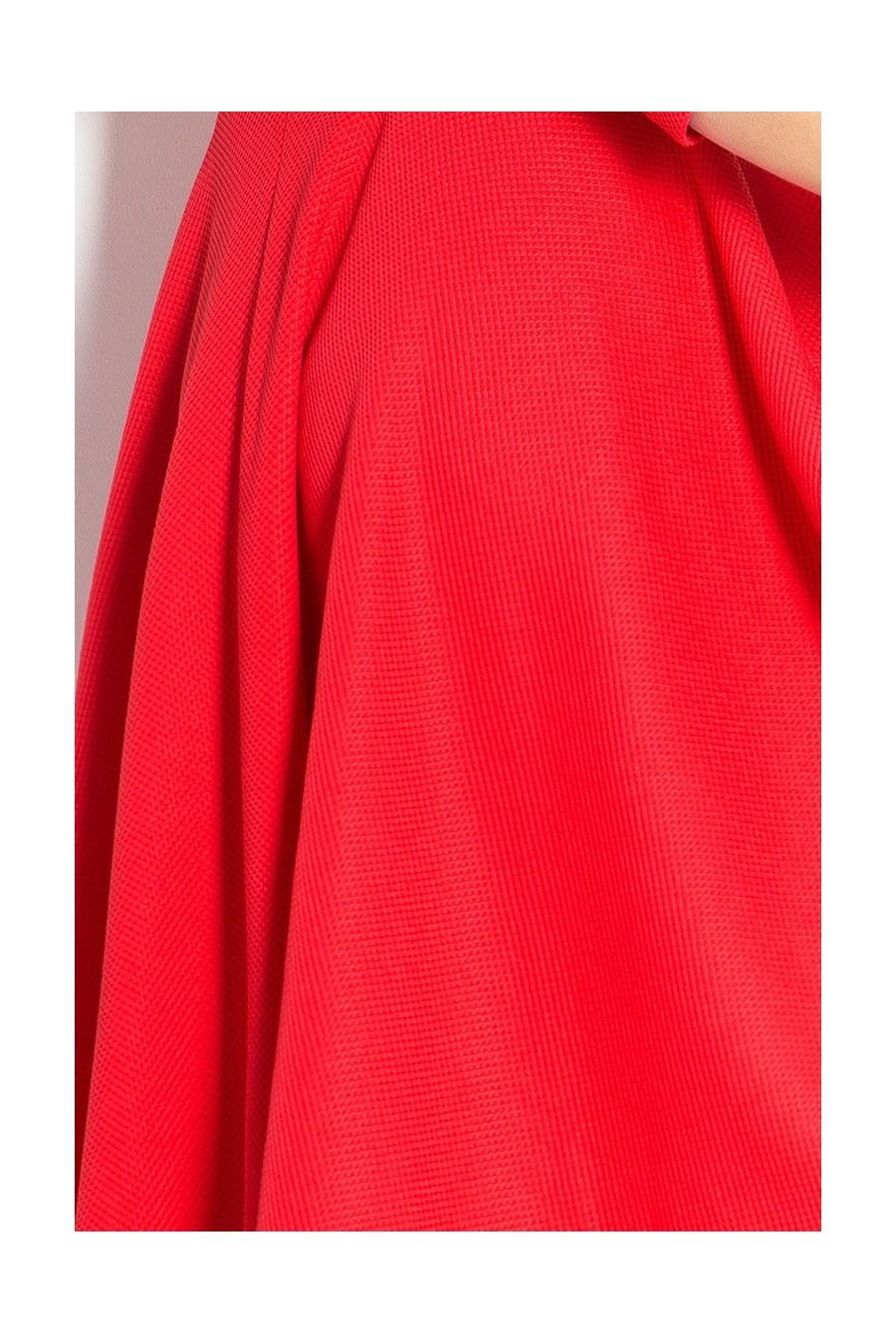 Šaty s 3/4 rukávy a delší zadní - cervená 90-4
