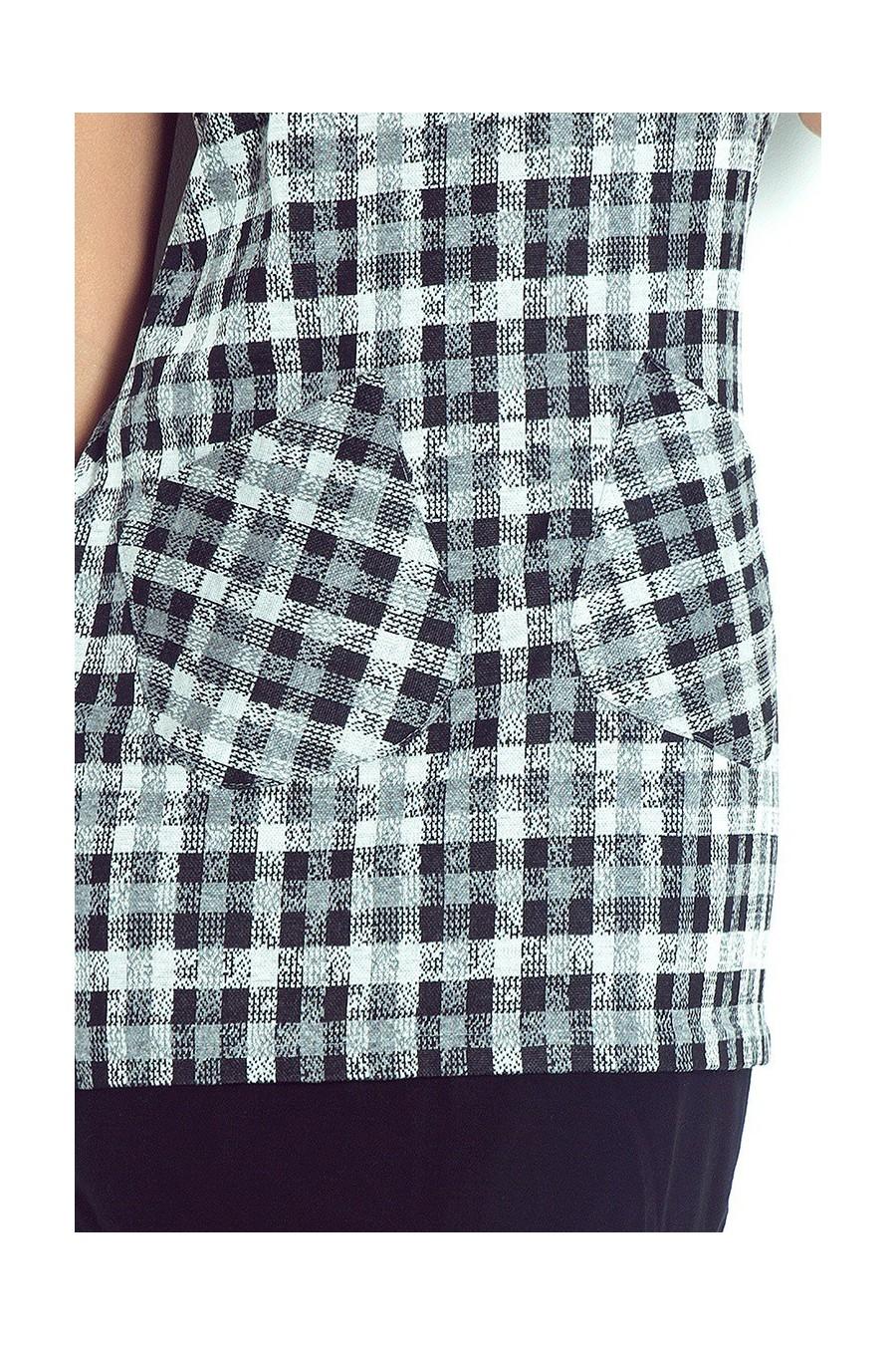 Šaty s kapsami v petite šedočerná mřížka 62-3