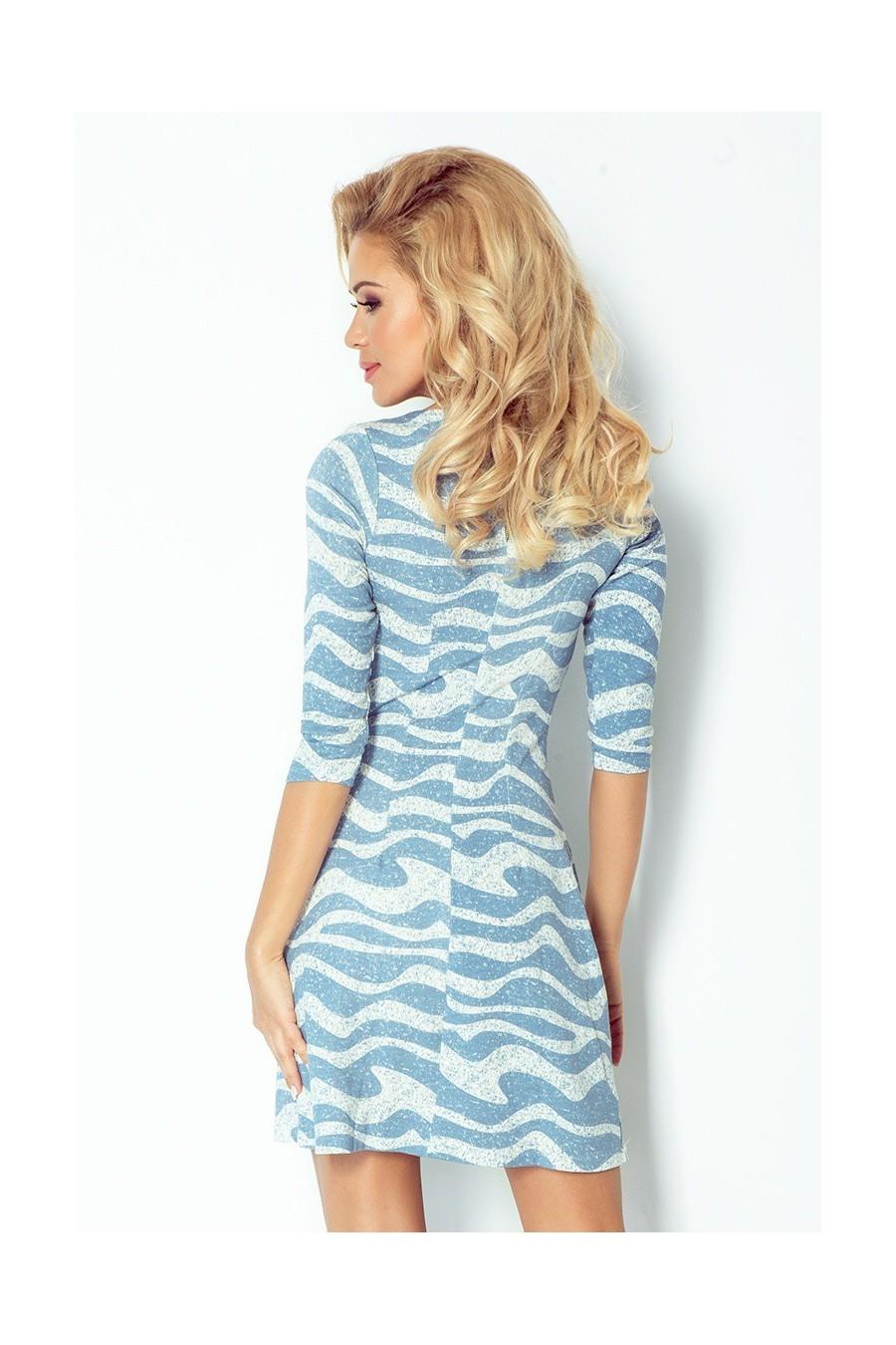 Šaty se zipy - modré vlny 38-18 - BIG SALE ! %