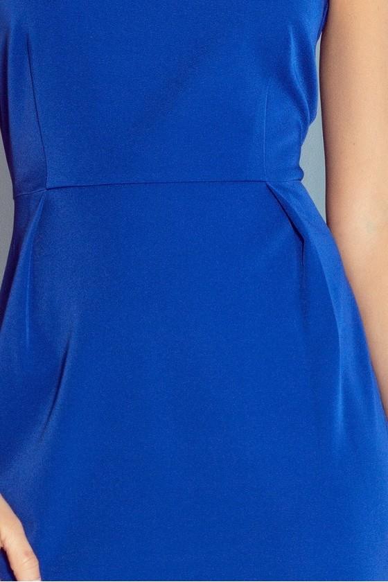 Klasický šaty s záhybů v pase - modrá 103-1