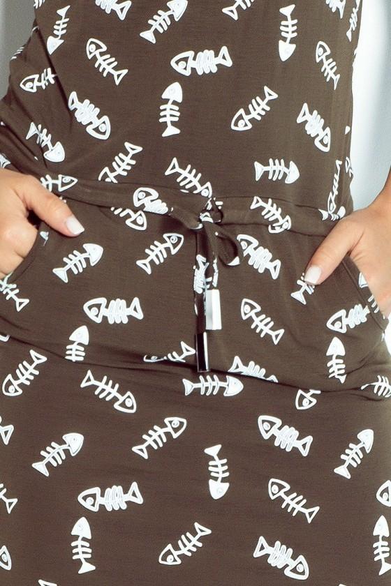 Sportovní šaty - fishbone + khaki 13-43