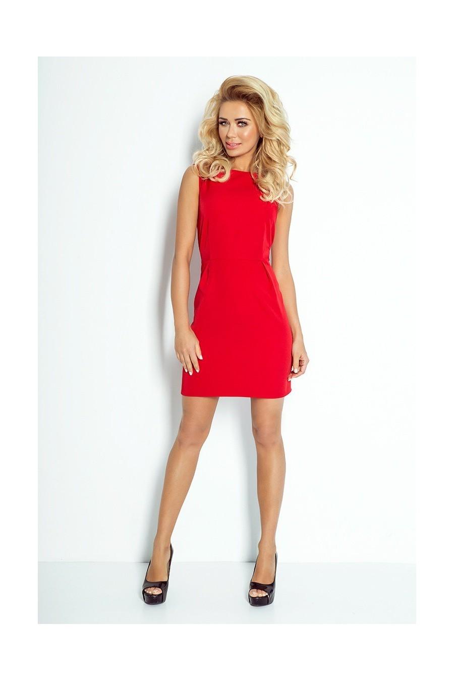 Klasický šaty s záhybů v pase - cervená 103-2