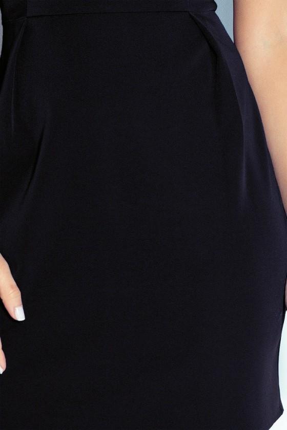 Klasický šaty s záhybů v pase - cerná 103-3