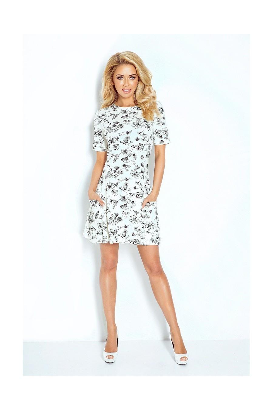 Contrafold šaty s kapsami - ecru 99-3