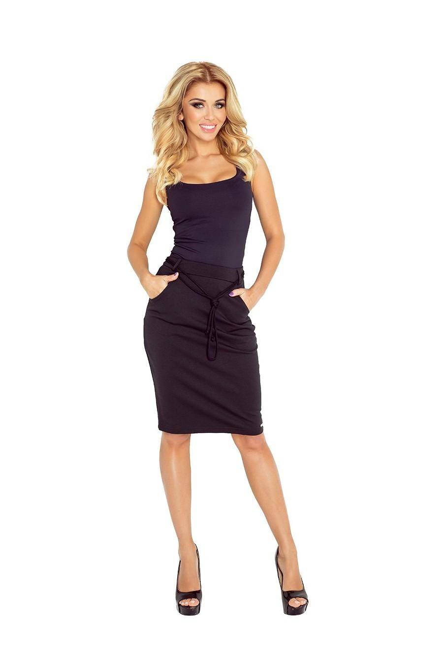 Sukně s kapsami a stahovací šňůrkou - černé 127-4