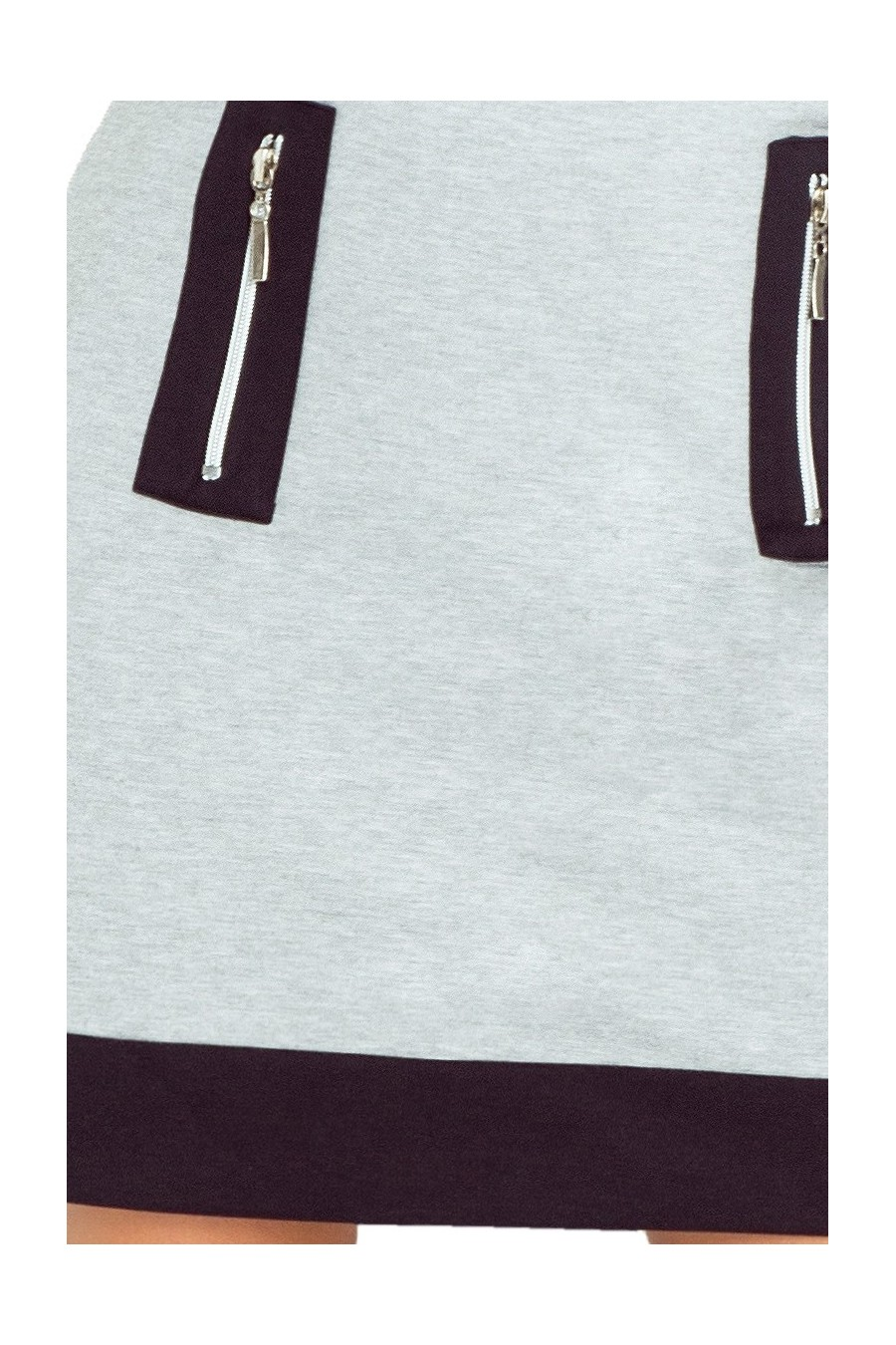 129-1 Justyna šaty se třemi zámky - šedá + černé zámky