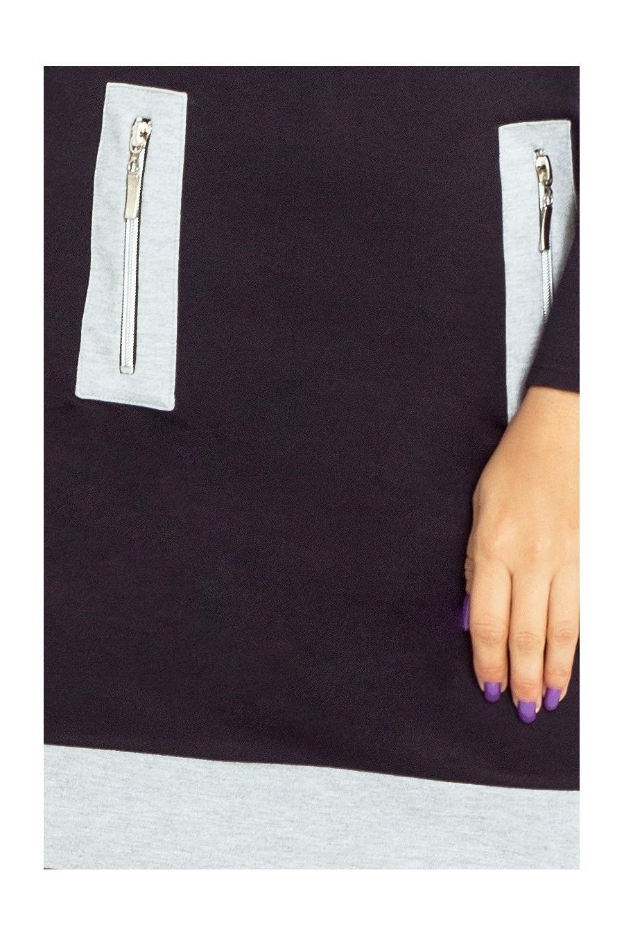 129-2 Justyna šaty se třemi zámky - černá + šedé zámky