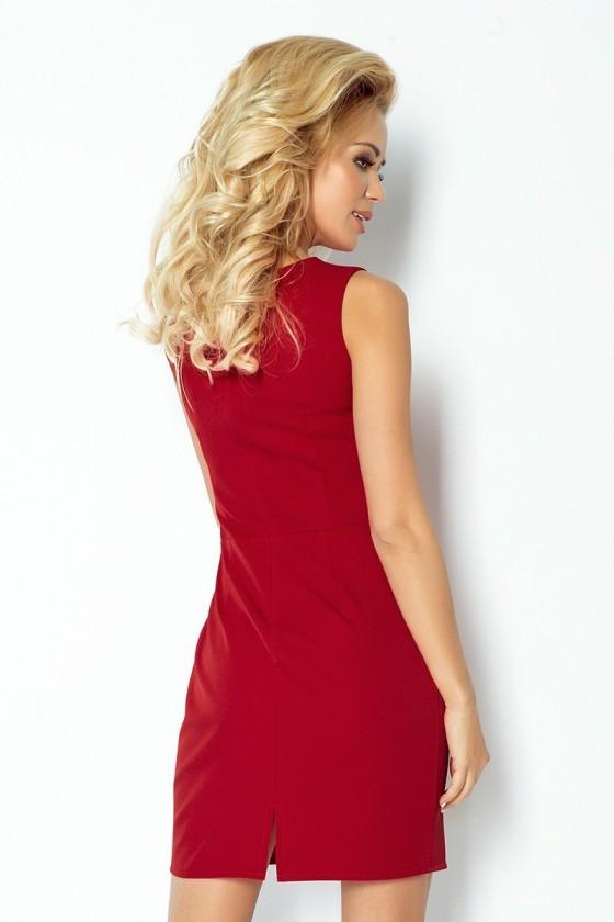 Klasický šaty s záhybů v pase - bordo 103-4