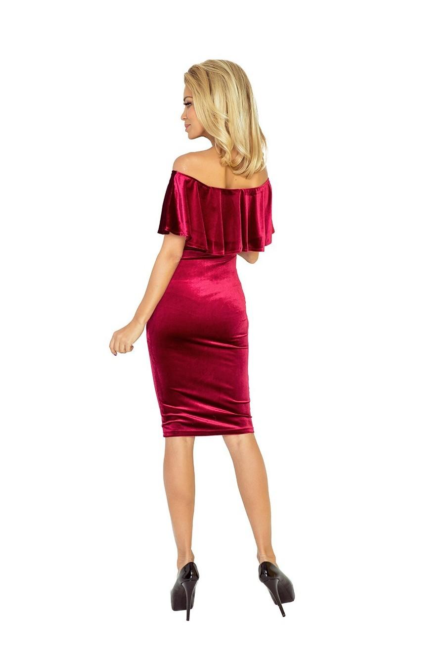 Šaty s límcem - velvet - burgundské 138-3