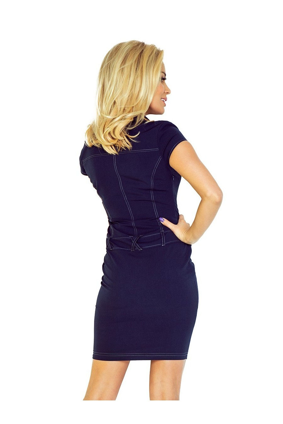 Šaty s knoflíky - tmave modrá 142-2