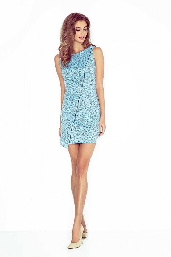 MM 004-5 Asymetrické šaty - světle modrá + černá květiny - BIG SALE! %