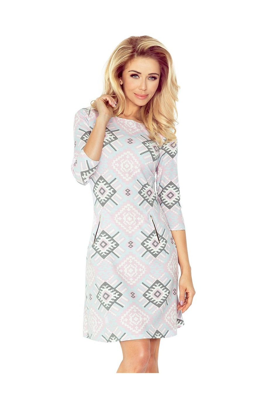 Šaty se zipy - velké růžové a šedé vzory 38-21