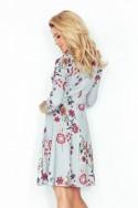 Rozšířený šaty s 3/4 rukávem - kvety 49-19