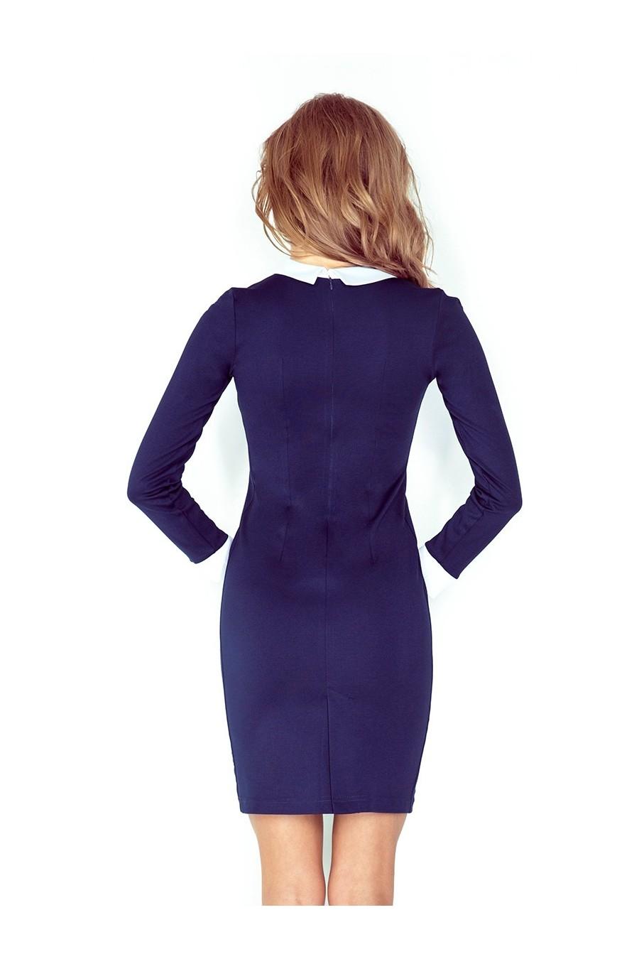 Šaty s bílým límečkem - tmave modrá 143-2