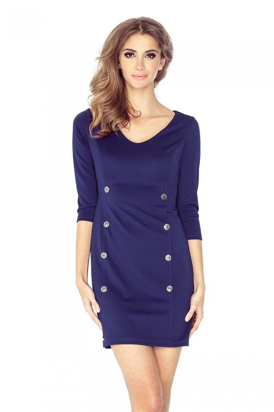 Šaty s knoflíky - tmave modra MM 019-1