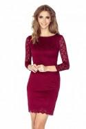 Šaty s krajkou - tmave cervená 145-2