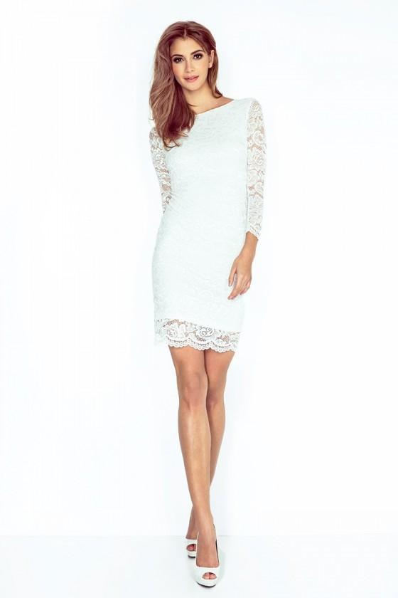 Šaty s krajkou - ECRU 145-3