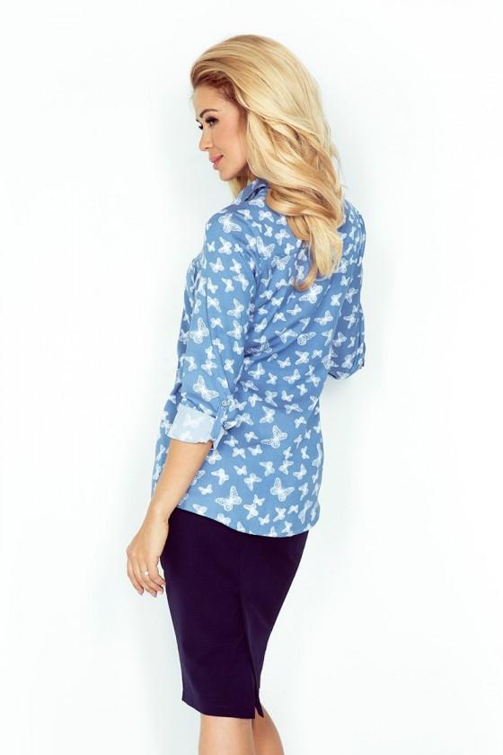 MM 018-6 Košile s kapsami - jeans + motýli