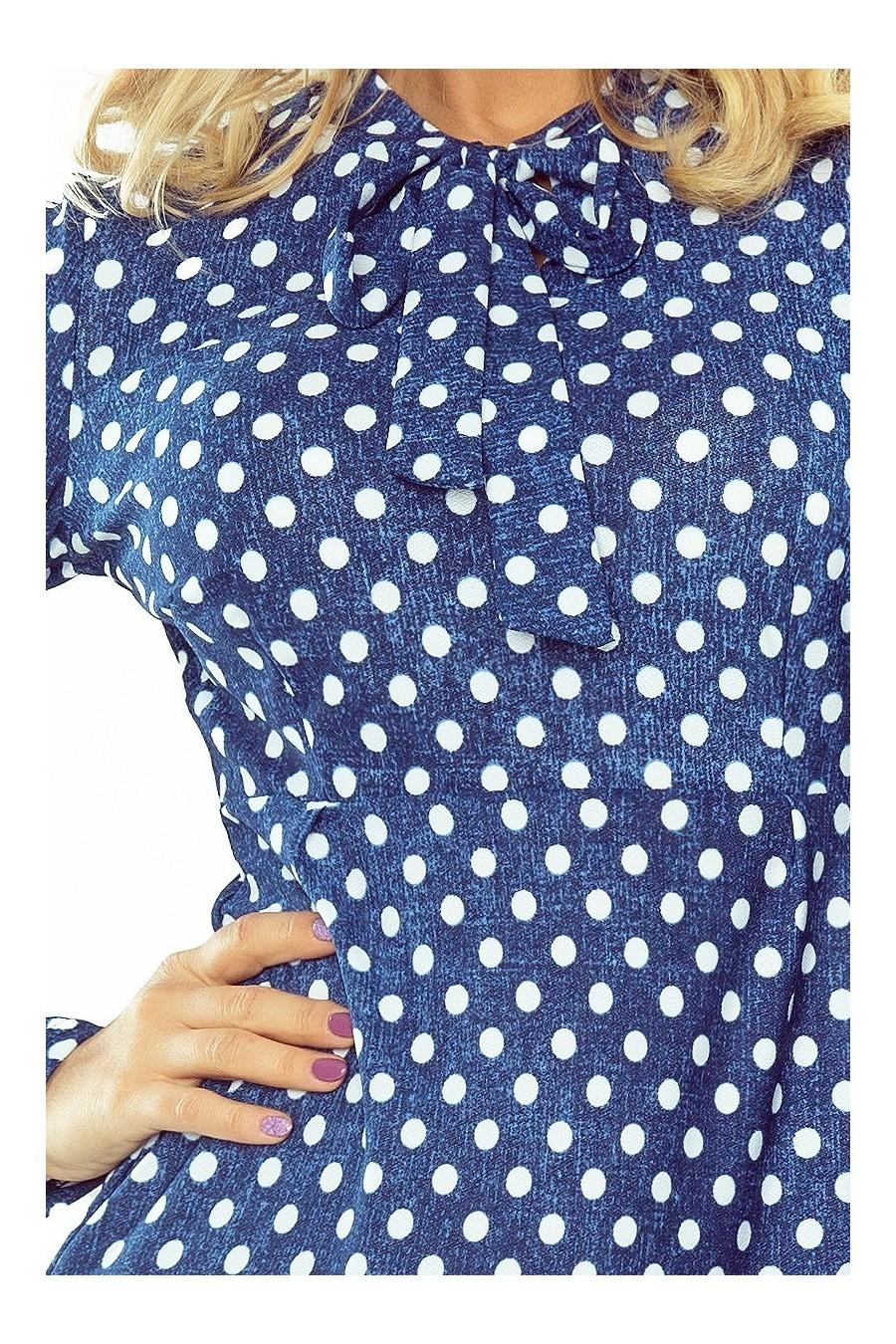 OLA trapézové šaty, svázaný pod krkem - puntíky 158-1