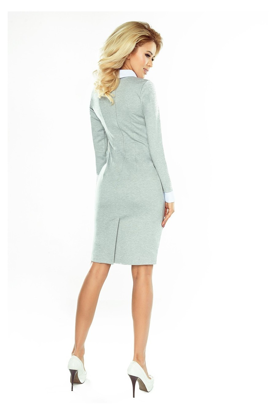 143-4 Šaty s bílým límečkem - šedé