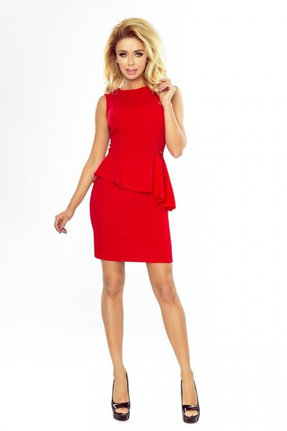 178-1 Asymetrické šaty s volánkem - červené