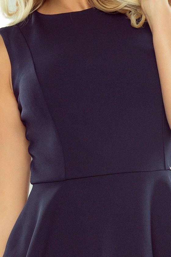 178-2 Asymetrické šaty s volánkem - tmavě modrá