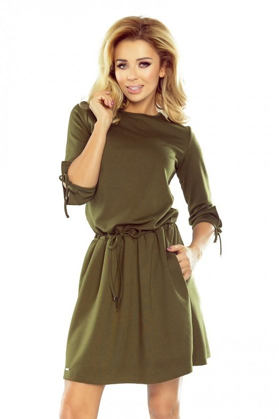 176-2 EWA - sportovní šaty s vázáním na rukávech - KHAKI