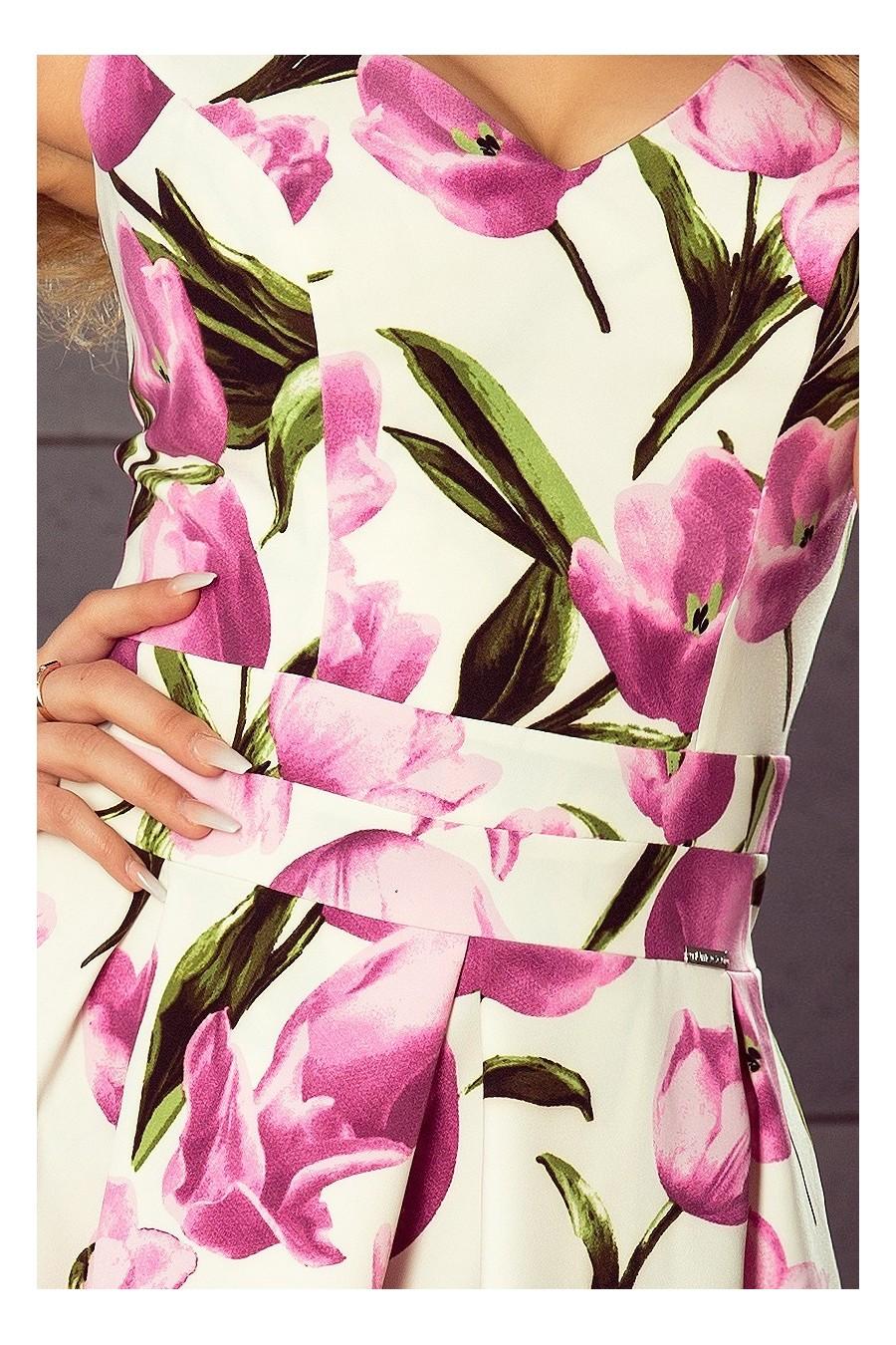 160-4 Šaty s výstřihem a kapsami - tulipány