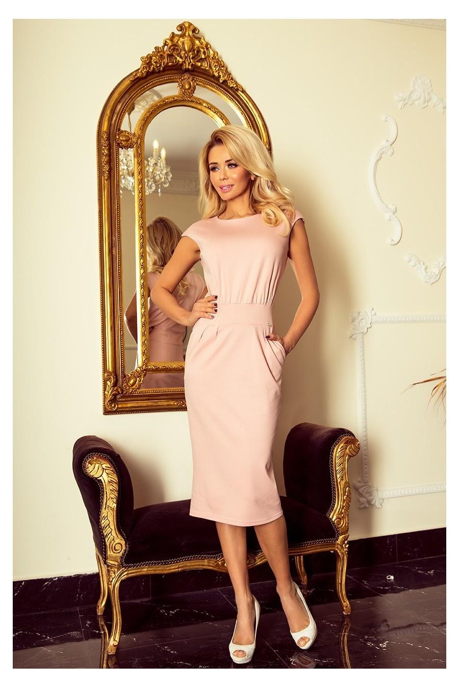 144-6 Šaty midi SARA - pastelové růžové
