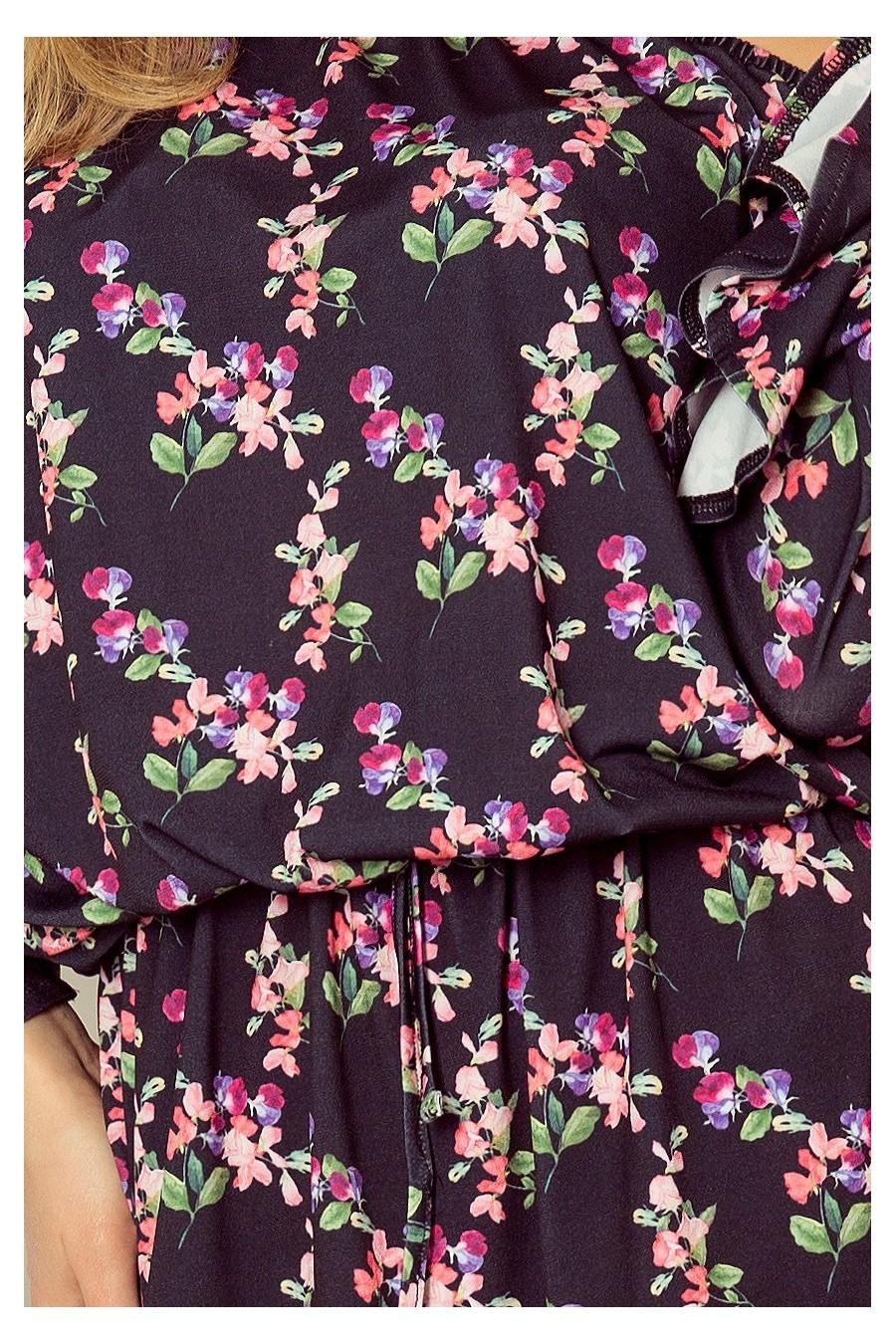 198-3 JULIE Šaty s volánky na rukávech - malé květy + černé