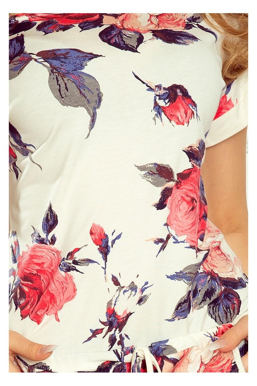 203-1 Sportovní šaty s krátkým rukávem, knoflíky a klopou - červené květy
