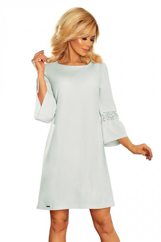 190-5 MARGARET šaty s krajkou na rukávech - modrý