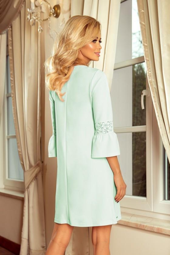 190-4 MARGARET šaty s krajkou na rukávech - máta