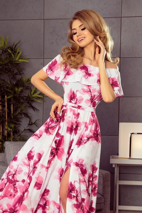 194-2 Dlhé šaty s volánmi a kvetmi