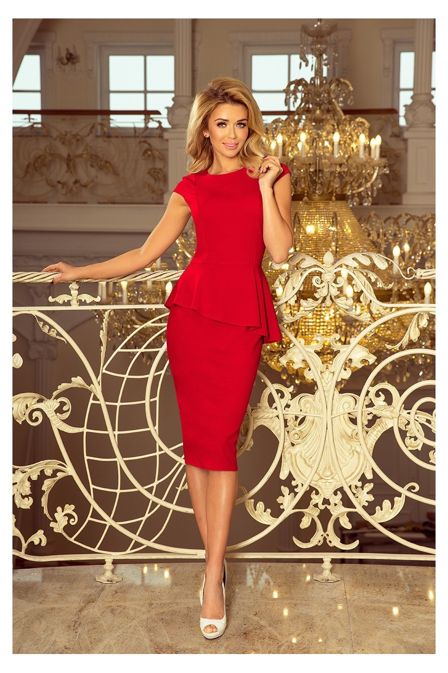 192-5 Elegantní midi šaty s volánky - červené