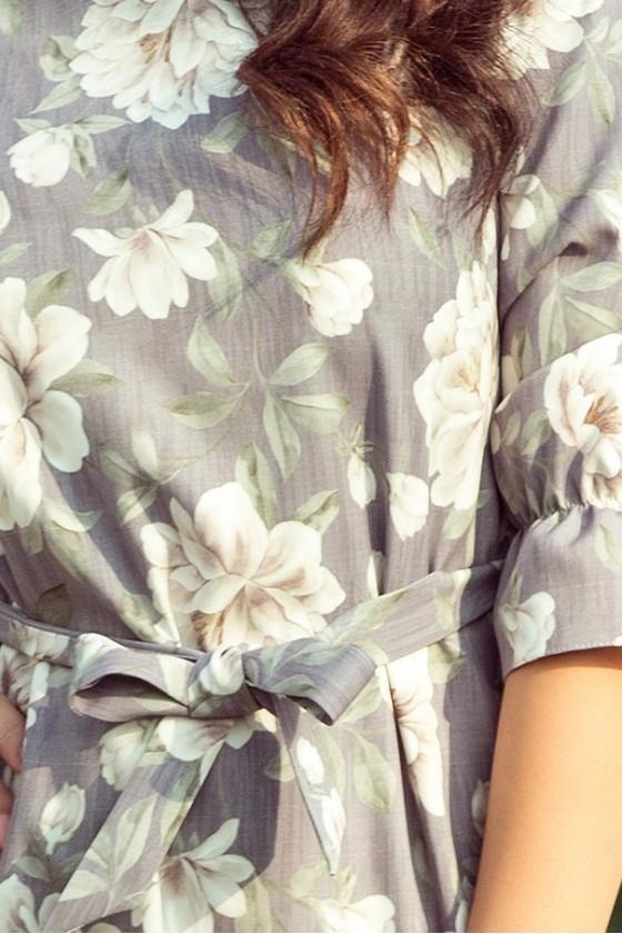 193-4 MAYA Šaty s volány a pruhem - jasné květy + šedé