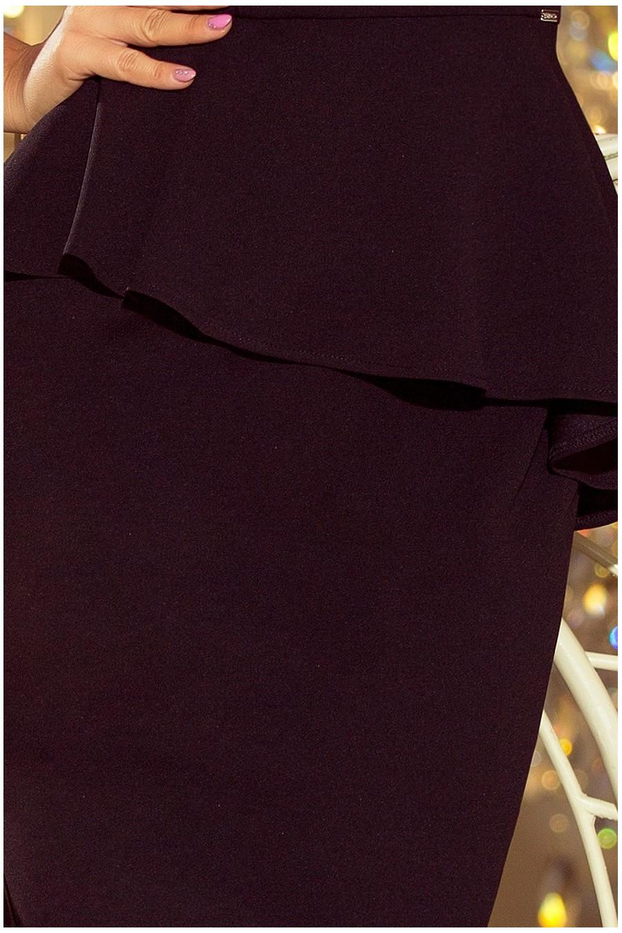 192-3 Elegantní midi šaty s volánky - černé